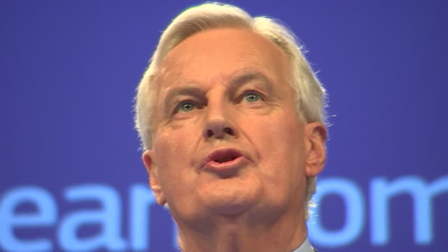 sequence of shots of michel barnier eu chief negotiator - debate stock videos and b-roll footage