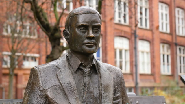Sequence of shots of the Alan Turing Memorial in Sackville Park, Manchester