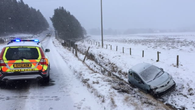sequence of shots showing a damaged vehicle that has slid of a snowy road in the scottish highlands - damaged stock videos & royalty-free footage