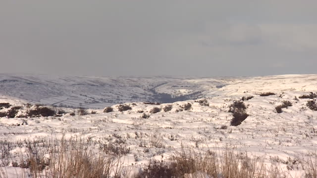 Sequence of shots showing snowy conditions on the North Yorkshire Moors