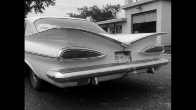 sequence of tail fins on american vintage cars; 1964 - tail fin stock videos & royalty-free footage
