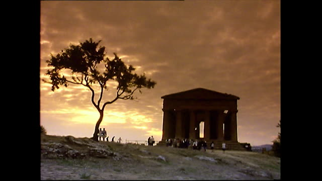 sequence of temple of concordia in agrigento, sicily; 1993 - pediment stock videos & royalty-free footage