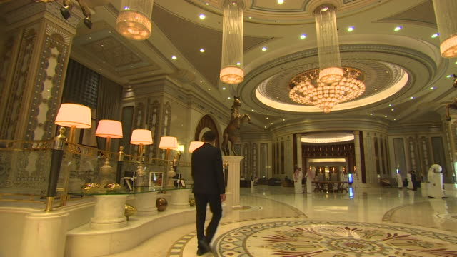 vídeos de stock, filmes e b-roll de sequence of views of the ritz carlton saudi arabia - ritz carlton hotel