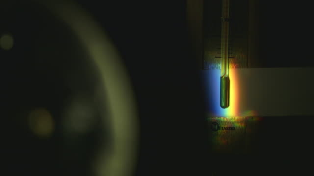 sequence showing a close-up of the temperature of refracted light being measured with a thermometer. - thermometer stock videos & royalty-free footage