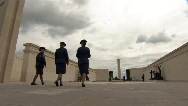 sequence showing a commemoration at the national memorial arboretum celebrating 100 years of women being part of the british armed forces. - national memorial arboretum stock videos & royalty-free footage