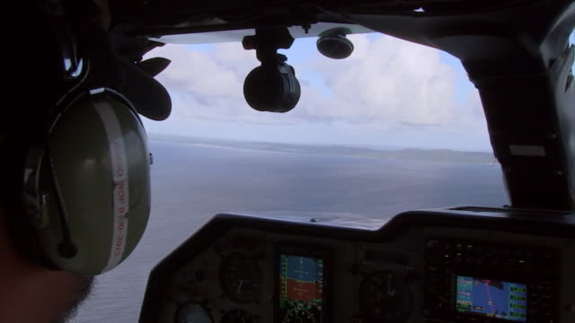 POV sequence showing a flight into Vieques, an island off mainland Puerto Rico.