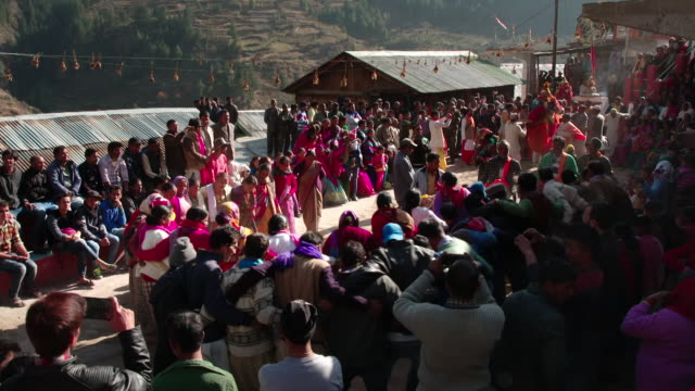 Sequence showing a Hindu ceremony welcoming Ganga to a village in the Himalayas, Uttarakhand, India.
