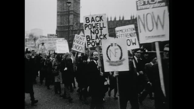 Sequence showing a National Front demonstration marching through central London