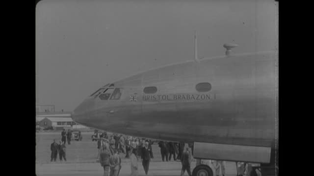 sequence showing a prototype bristol brabazon passenger aircraft taking off from london airport during a test flight - bristol england stock videos & royalty-free footage