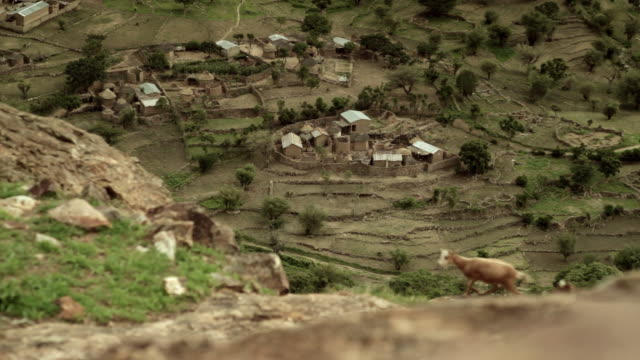 Sequence showing a remote village and the surrounding countryside in Cameroon.