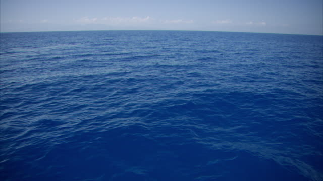 Sequence showing a vast, calm, blue stretch of Atlantic Ocean off the coast of Haiti, including a shot showing the curvature of the Earth.