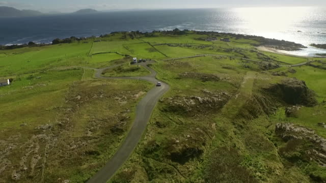sequence showing a volkswagen tiguan car approaching malin head in county donegal in the republic of ireland. - ireland stock videos & royalty-free footage