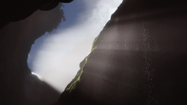 Sequence showing a waterfall cascading into the mouth of a cave in a Tepui mountain, Venezuela.