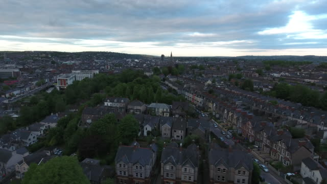 Sequence showing aerial views of the city of Cork in the Republic of Ireland.