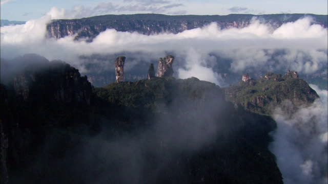 Sequence showing aerial views of Tipui mountains, Venezuela.