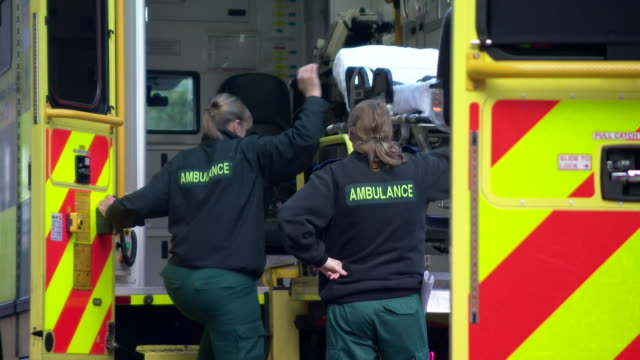 Sequence showing ambulances outside a hospital in northwest England where there have been severe delays in waiting times for patients in ambulances...
