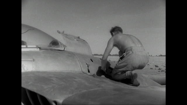 stockvideo's en b-roll-footage met sequence showing an raf pilot taking off in a vampire fighter aircraft from a base in the suez canal zone - suezcrisis