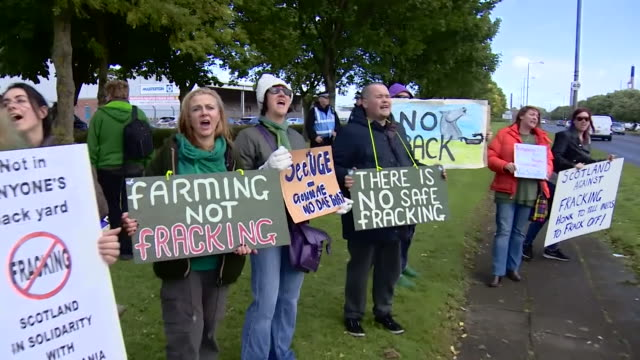 Sequence showing antifracking protestors in Scotland