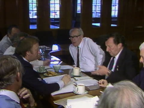 Sequence showing Arthur Scargill in a meeting with the leaders of the four main transport unions during the miners strike