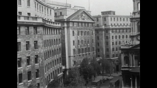 sequence showing bbc bush house and a sign for the bbc's european service - bbc archive stock-videos und b-roll-filmmaterial