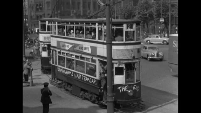 sequence showing birmingham's last working tram on it's last day of operation - tram stock videos & royalty-free footage
