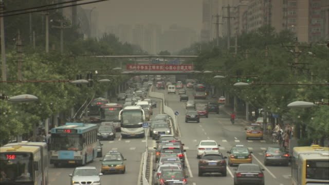 Sequence showing busy traffic on a wide road in Beijing, China.
