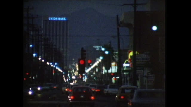 sequence showing cars at night in los angeles; 1972 - 1972 stock videos & royalty-free footage