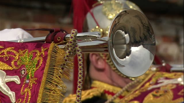 sequence showing cavalry playing a fanfare on 'smithwright' trumpets which will be used in the wedding of prince harry and meghan markle - metal blend stock videos and b-roll footage
