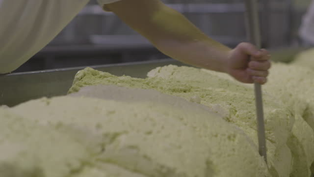 sequence showing cheese curd being cut into loaves as part of the 'cheddaring' process, uk. - チェダー点の映像素材/bロール