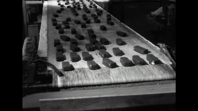 sequence showing choc ices being produced at the wall's dairy factory - cibi surgelati video stock e b–roll