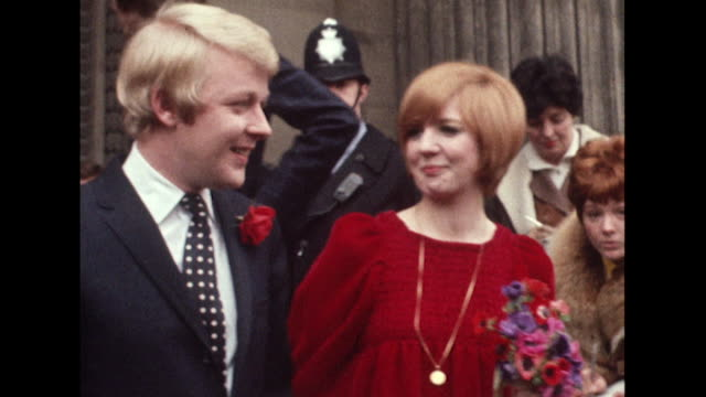 sequence showing cilla black and bobby willis leaving marylebone registry office following their wedding ceremony. - employee engagement stock videos & royalty-free footage