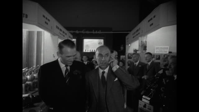 sequence showing douglas fairbanks jnr opening an industrial exhibition in watford as part of the festival of britain celebrations - festival of britain stock videos & royalty-free footage