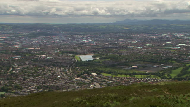 Sequence showing elevated wide shots of Belfast in Northern Ireland.