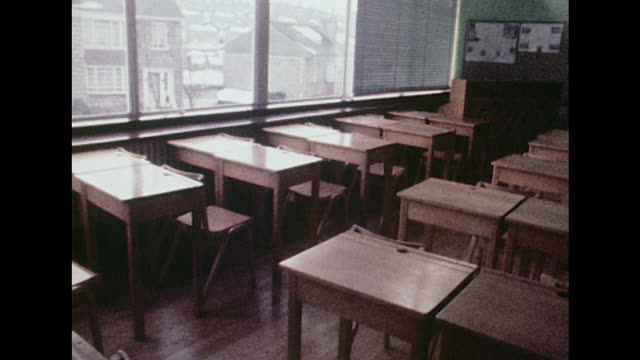 sequence showing empty school classrooms - classroom stock videos & royalty-free footage