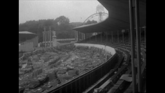 sequence showing empty stands that were built for the queen's coronation celebrations - coronation stock videos and b-roll footage