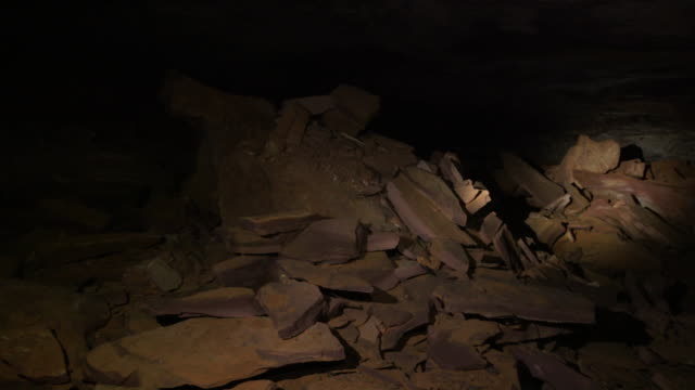 Sequence showing exploration of an unmapped cave network in a Tepui mountain by torchlight, Venezuela.