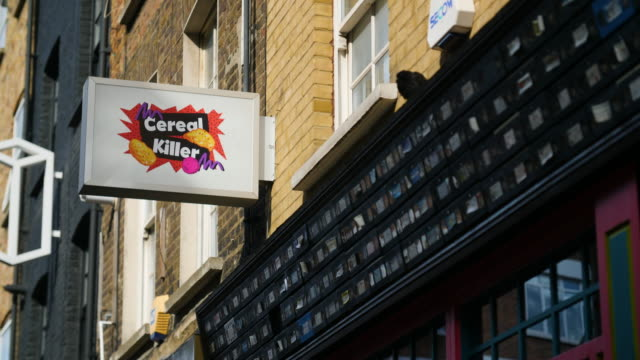 Sequence showing exteriors of the Cereal Killer Cafe in Brick Lane