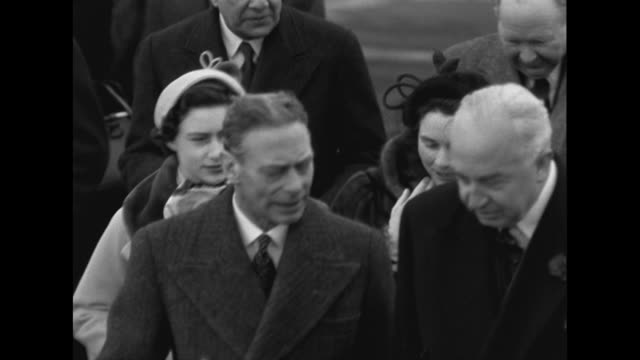 Sequence showing George VI the Queen Princess Margaret and the Duchess of Gloucester at London Airport