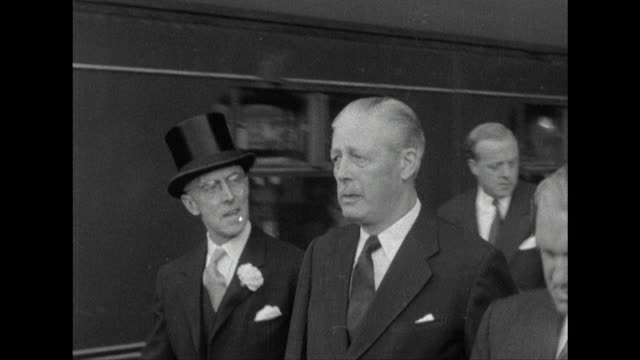 sequence showing harold macmillan at euston station at the start of the 1959 general election campaign - prime minister stock videos & royalty-free footage