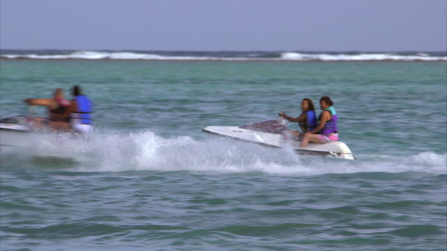 Sequence showing holidaymakers enjoying various leisure activities on a beach in the Dominican Republic.