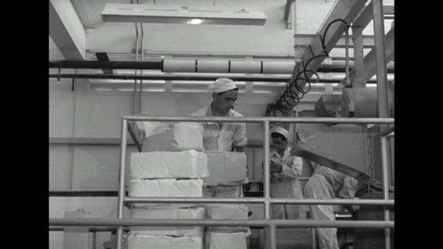 sequence showing ice cream being produced at the wall's dairy factory - cibi surgelati video stock e b–roll