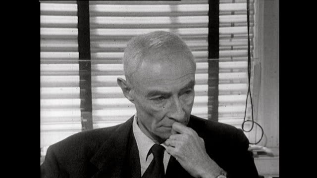 sequence showing j robert oppenheimer listening to a question and looking deep in thought 1965 - adults only videos stock videos & royalty-free footage
