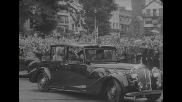 sequence showing king george vi the queen and princess margaret arriving at exeter cathedral to celebrate exeter's 900th anniversary as a diocese - princess margaret 1950 stock videos and b-roll footage