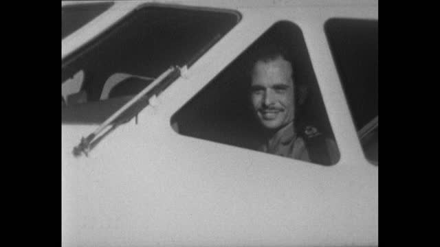 sequence showing king hussein of jordan arriving at an airport in jordan after piloting it himself; 1967. plane taxiing off runway. king hussein... - mid adult stock videos & royalty-free footage