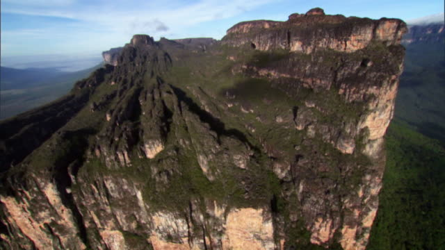 Sequence showing 'lined' erosion of a Tepui mountain, Venezuela.
