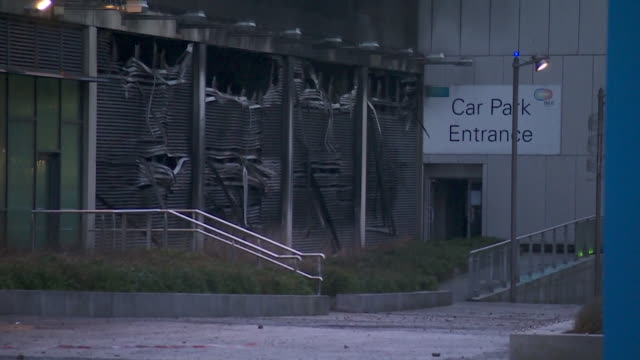 Sequence showing Liverpool's Echo Arena multistorey car park after its fire on December 31st NNBZ196X ABSA627D