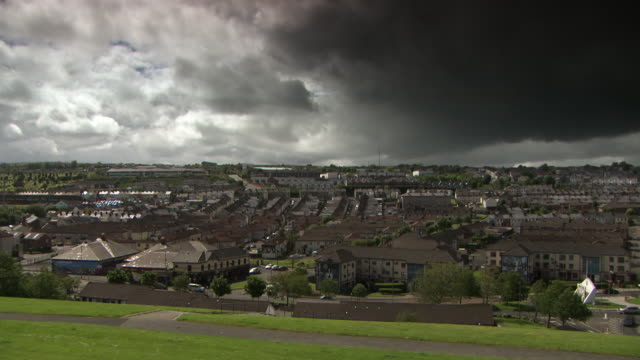 sequence showing londonderry/derry's skyline, including a view of the bogside area, northern ireland. - council flat stock videos & royalty-free footage