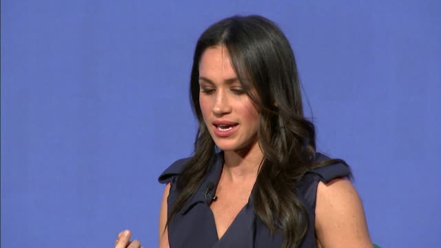 sequence showing meghan markle stating women 'don't need help to find their voice' at the royal foundation forum - prince william stock videos & royalty-free footage