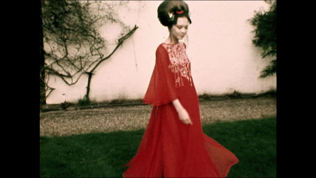 Sequence showing models wearing Japanese inspired dresses designed by Hanae Mori