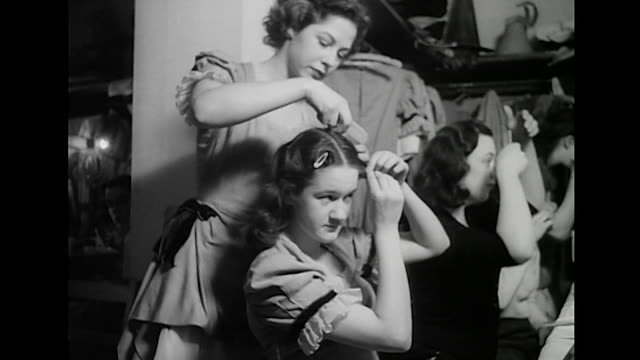 sequence showing moyra fraser charlie chester and the cast of jack and jill applying their makeup in the dressing rooms of the casino theatre london - pantomime stock videos and b-roll footage